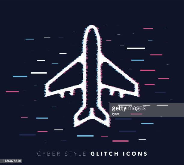 Commercial Airplane Glitch Effect Vector Icon Illustration