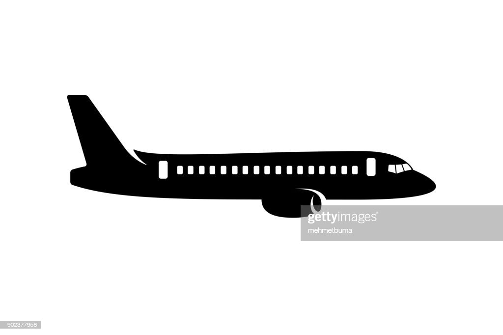 Commercial airplane silhouette