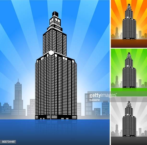 commercial building color set - entrance sign stock illustrations