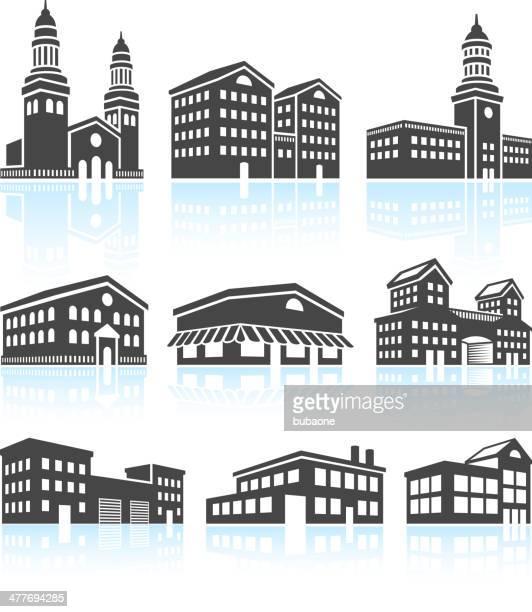 kommerzielle gebäude & schwarz weiß set - rathaus stock-grafiken, -clipart, -cartoons und -symbole