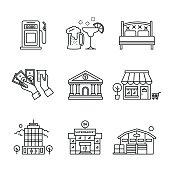 Commercial buildings sings set