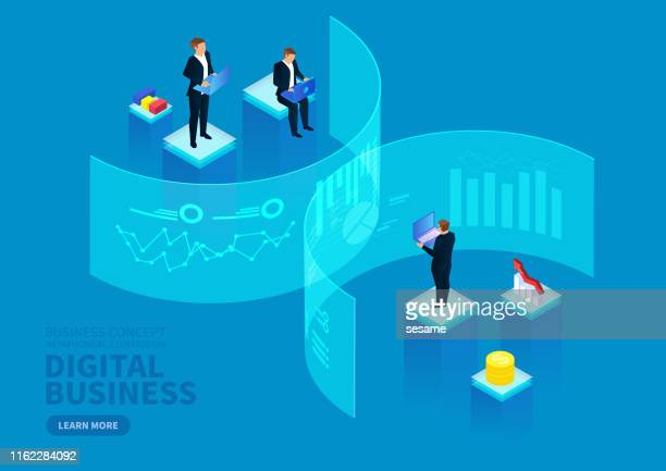 commercial digital technology financial strategy, data visualization concept - weakness stock illustrations