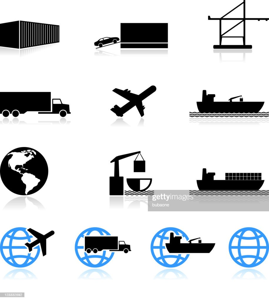 commercial freight shipping black and white vector icon set