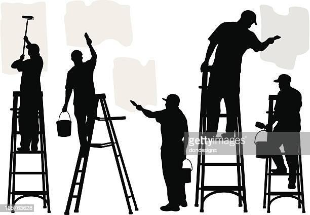 ilustraciones, imágenes clip art, dibujos animados e iconos de stock de pintores comercial - pintores de brocha gorda