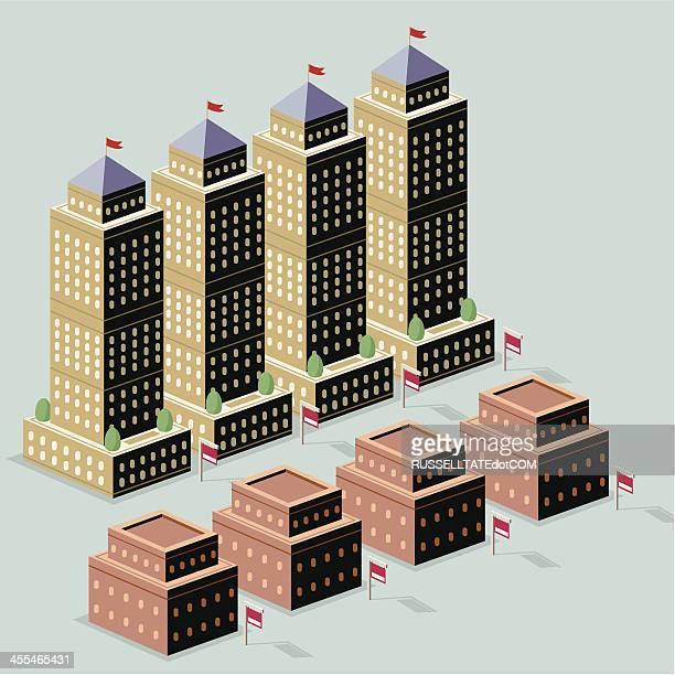 kommerzielle hotel gemietet werden. - gewerbeimmobilie stock-grafiken, -clipart, -cartoons und -symbole