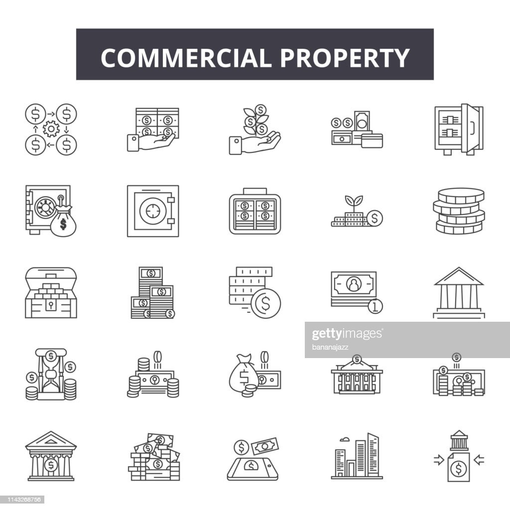 Commercial property line icons, signs set, vector. Commercial property outline concept, illustration: commercial,property,estate,home,real,house,residential,building,symbol