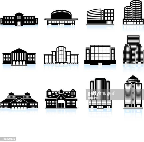 commercial real estate: buildings and skyscrapers vector icon set - country club stock illustrations, clip art, cartoons, & icons