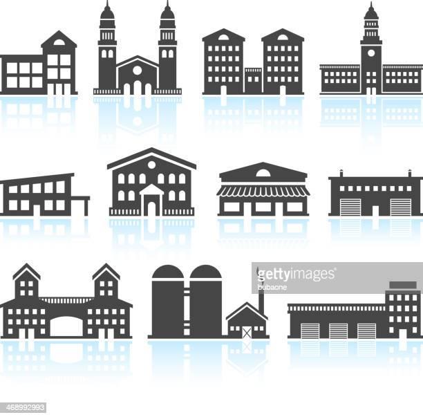 commercial real estate gebäude schwarz & weiß vektor icon-set - gewerbeimmobilie stock-grafiken, -clipart, -cartoons und -symbole