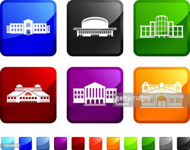 commercial real estate gebäude lizenzfreie vektor icon set aufkleber - gewerbeimmobilie stock-grafiken, -clipart, -cartoons und -symbole