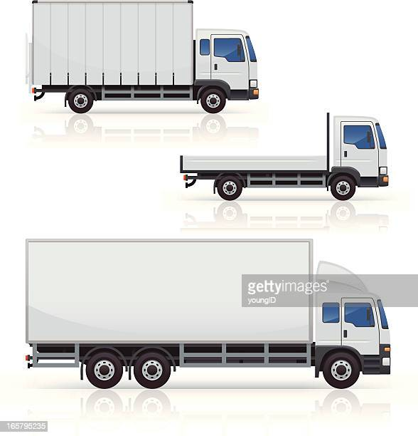 commercial truck icons - truck stock illustrations