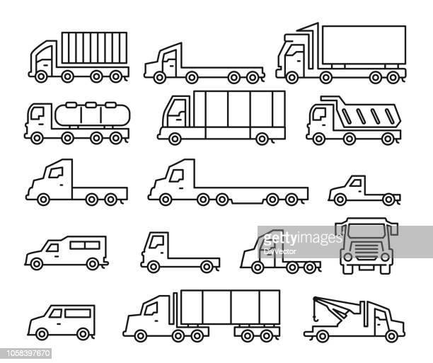 Commercial van icons set