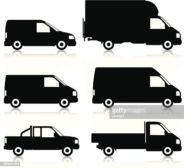 commercial van silhouettes - commercial land vehicle stock illustrations