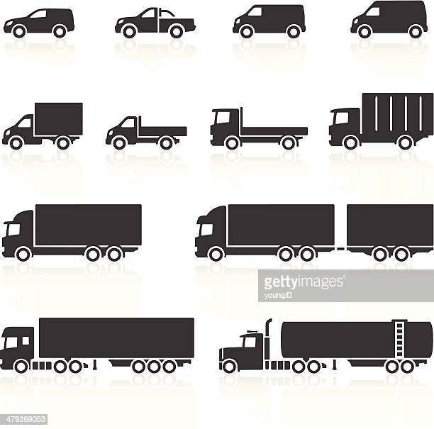 commercial vehicle icons - side view stock illustrations