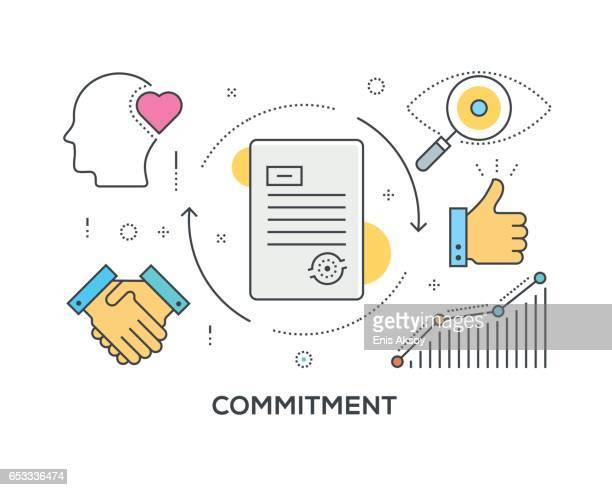ilustraciones, imágenes clip art, dibujos animados e iconos de stock de concepto de compromiso con los iconos - lealtad