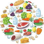 Common everyday food products background. Cheese and fish, vector illustration