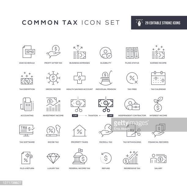 illustrazioni stock, clip art, cartoni animati e icone di tendenza di icone comuni della linea del tratto modificabile fiscale - rapporto finanziario