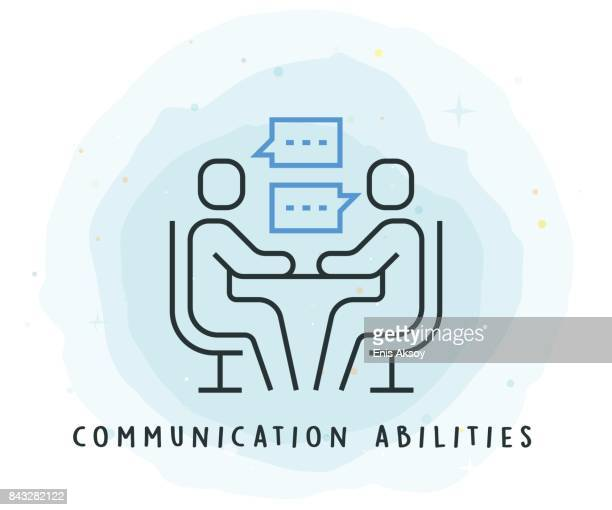 communication abilities icon with watercolor patch - employee stock illustrations