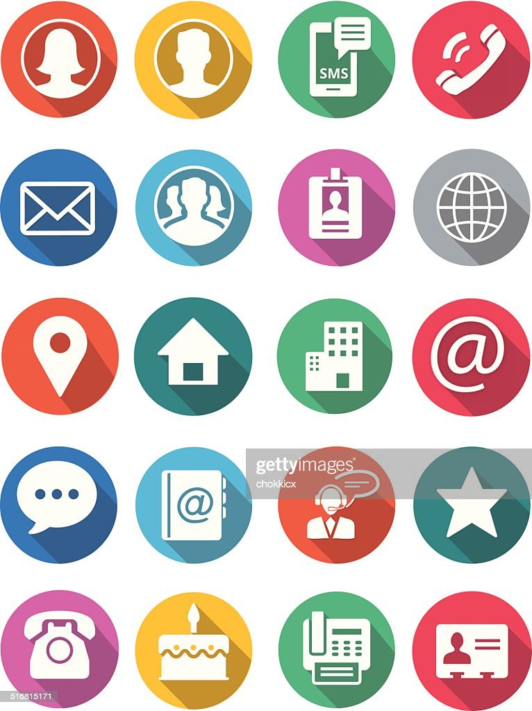 communication and contact round flat icons