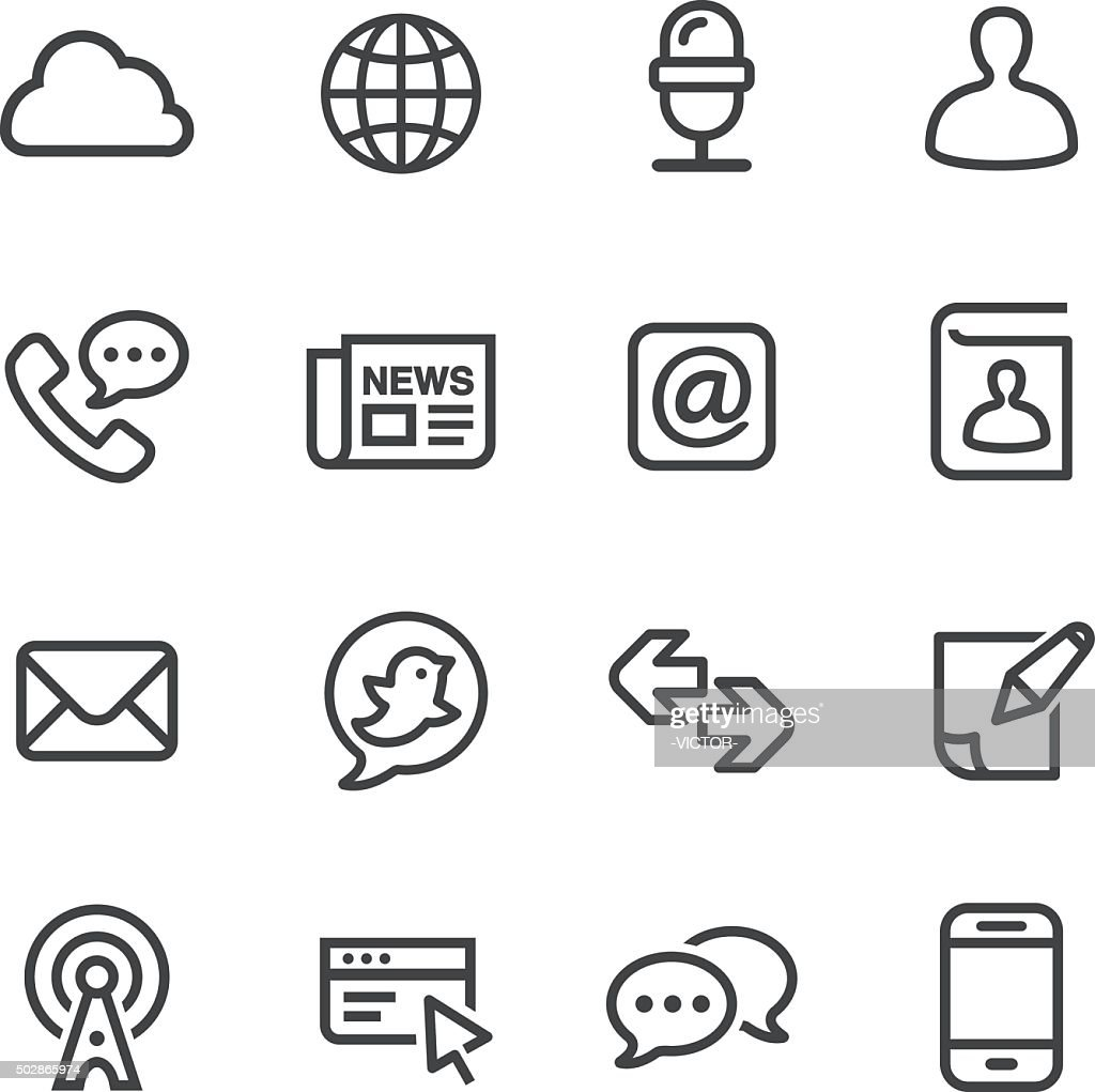 Communication and Internet Icons - Line Series