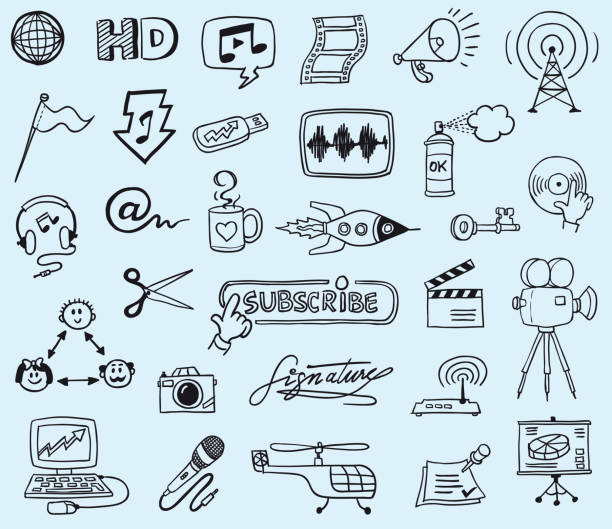 communication and media doodles - doodle stock illustrations