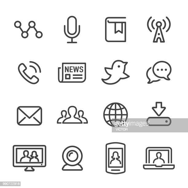 communication and media icons - line series - radio stock illustrations