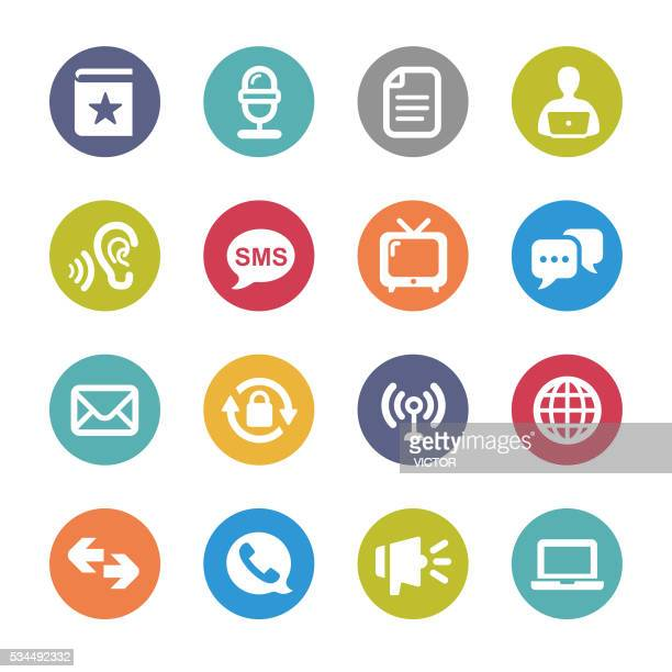 Communication and Media Icons Set - Circle Series