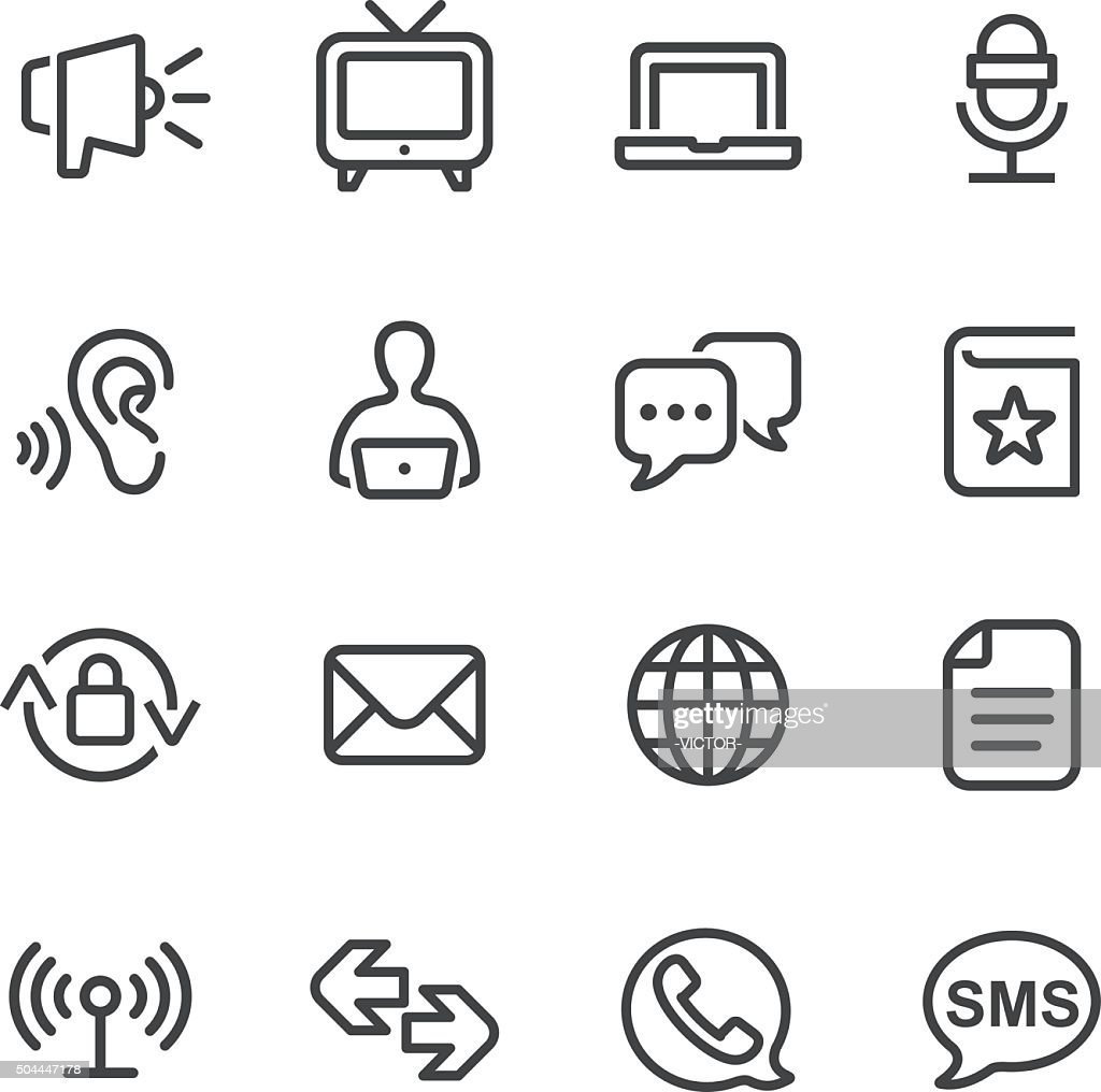 Communication and Media Icons Set - Line Series