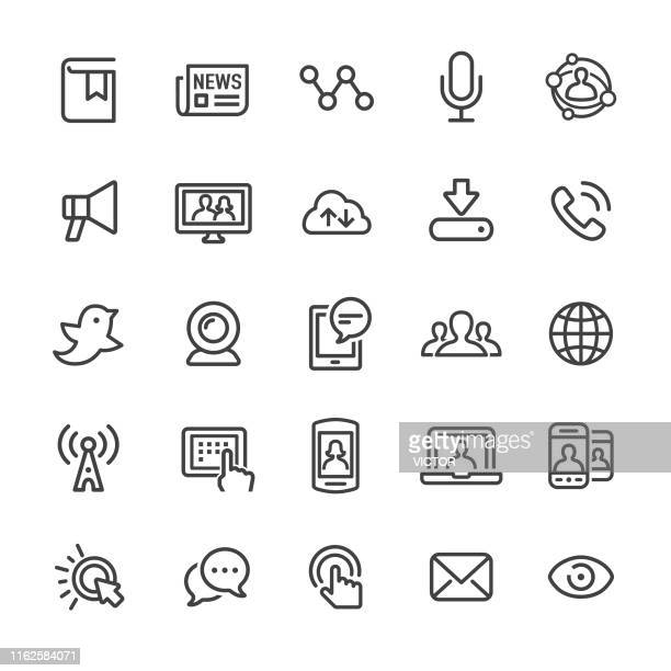 communication and media icons - smart line series - microphone transmission stock illustrations