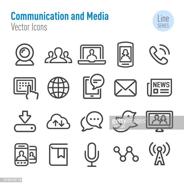 communication and media icons - vector line series - microphone transmission stock illustrations