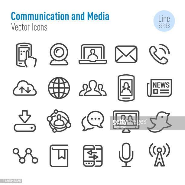 kommunikations-und medien-icons-vector line series - adressbuch stock-grafiken, -clipart, -cartoons und -symbole