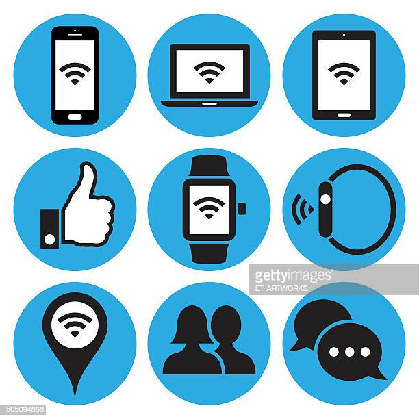 Communication and media icons. Vector
