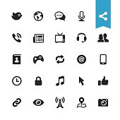 Communication and media vector icons