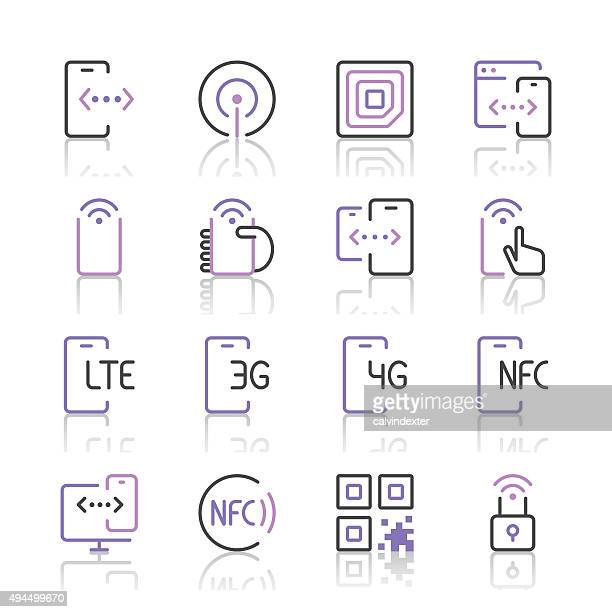 communication and mobile data icons 1 | purple line series - rfid stock illustrations, clip art, cartoons, & icons