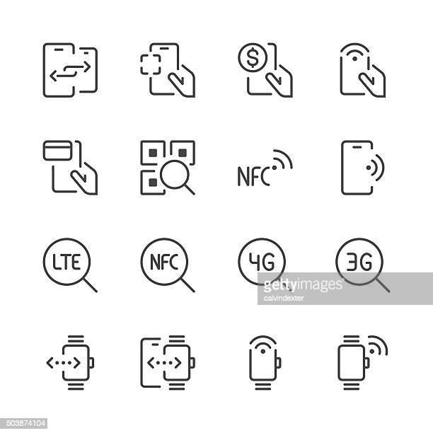 illustrations, cliparts, dessins animés et icônes de mobile communication et les icônes de la ligne série 2/noir - code barre