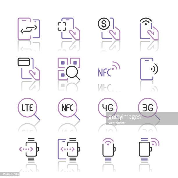 communication and mobile data icons 2 | purple line series - rfid stock illustrations, clip art, cartoons, & icons