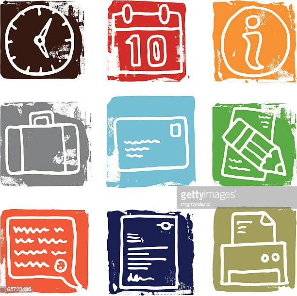 communication and office icon set - information symbol stock illustrations