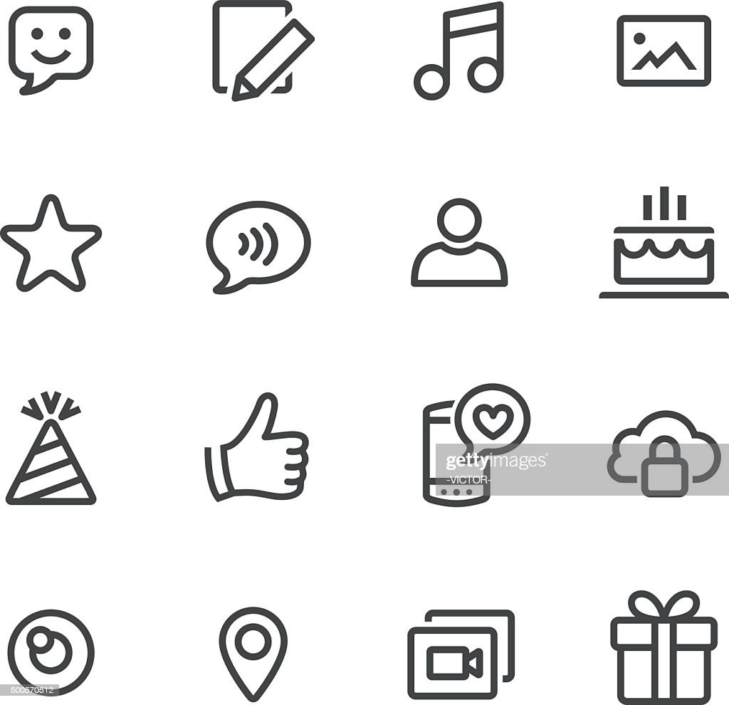 Communication and Social Media Icons - Line Series