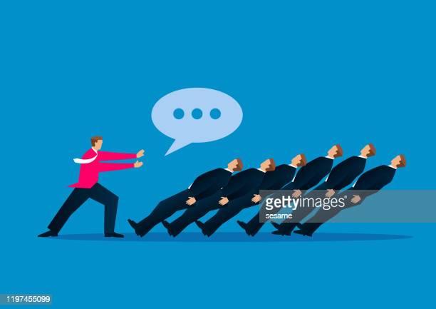 stockillustraties, clipart, cartoons en iconen met communicatie en stress, de speech bubble van leader duwt een rij zakenlieden - hiërarchie