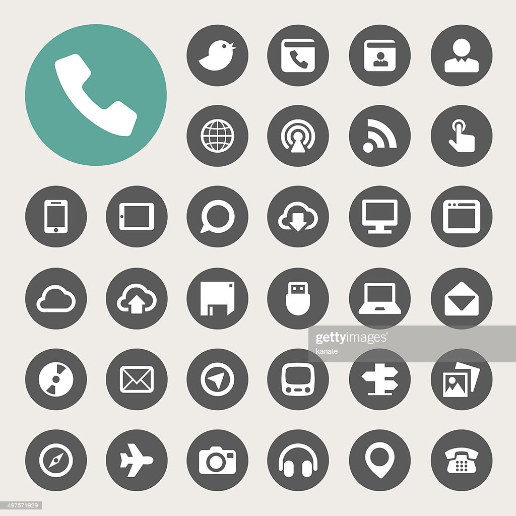 Communication and transportaion icon set