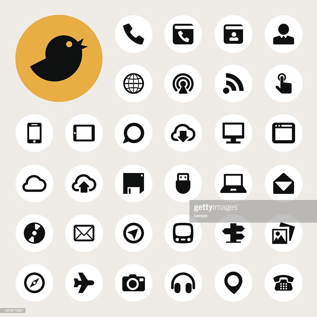 Communication and transportaion icon set