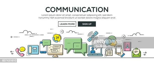 communication banner and icons - answering machine stock illustrations, clip art, cartoons, & icons