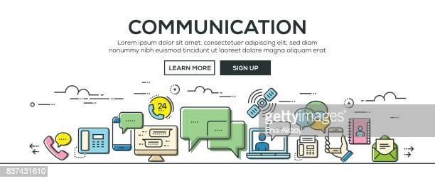 illustrazioni stock, clip art, cartoni animati e icone di tendenza di banner e icone di comunicazione - call center