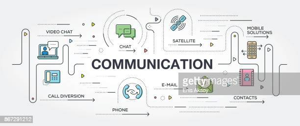 communication banner and icons - video conference stock illustrations