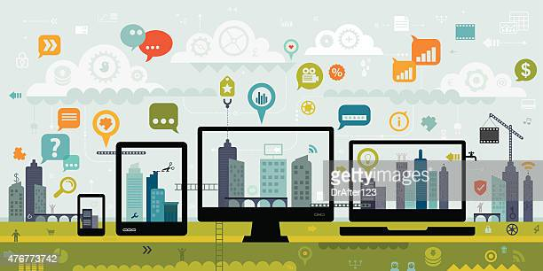 communication between different devices - interactivity stock illustrations, clip art, cartoons, & icons