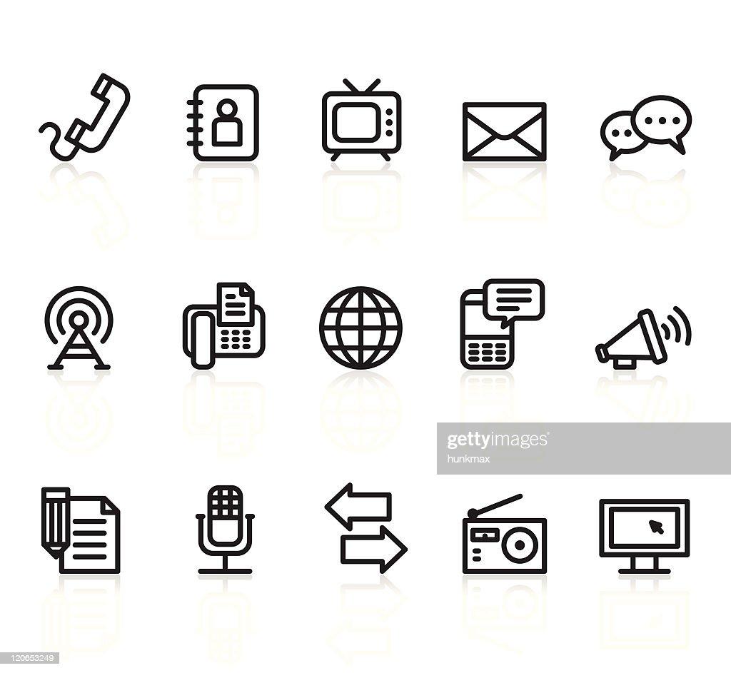 communication black and white icons set