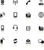 Communication Black & White Icons Set