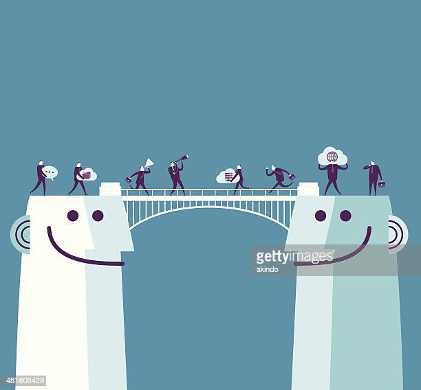 ilustrações, clipart, desenhos animados e ícones de ponte de comunicação - estabelecer uma ponte