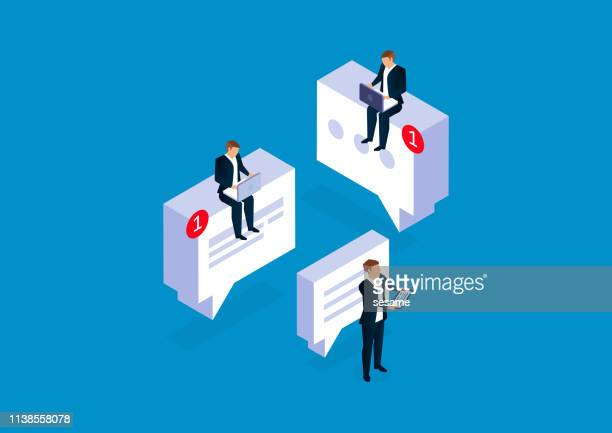 communication, businessmen conduct network communication and communication - online messaging stock illustrations