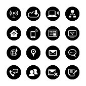 Communication Circle Icons Set