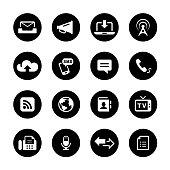 Communication Circle Icons Set